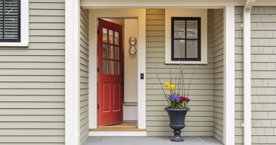 Open front door to classic style home.