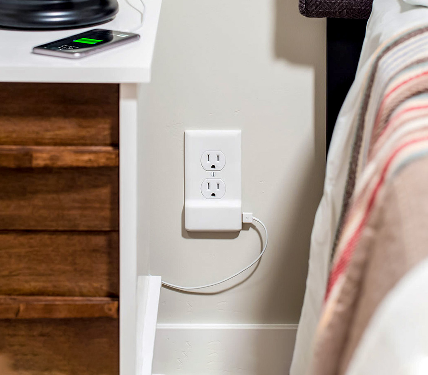 snappower usb charger behind furniture
