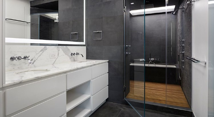 modern black and white bath teak shower floor